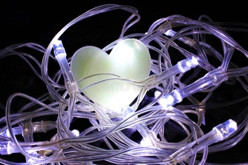 Heart in a Nest of Fairy Lights royalty free stock photos