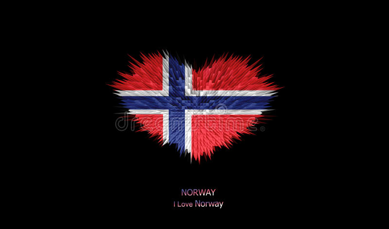 The Heart of Norway Flag. stock illustration