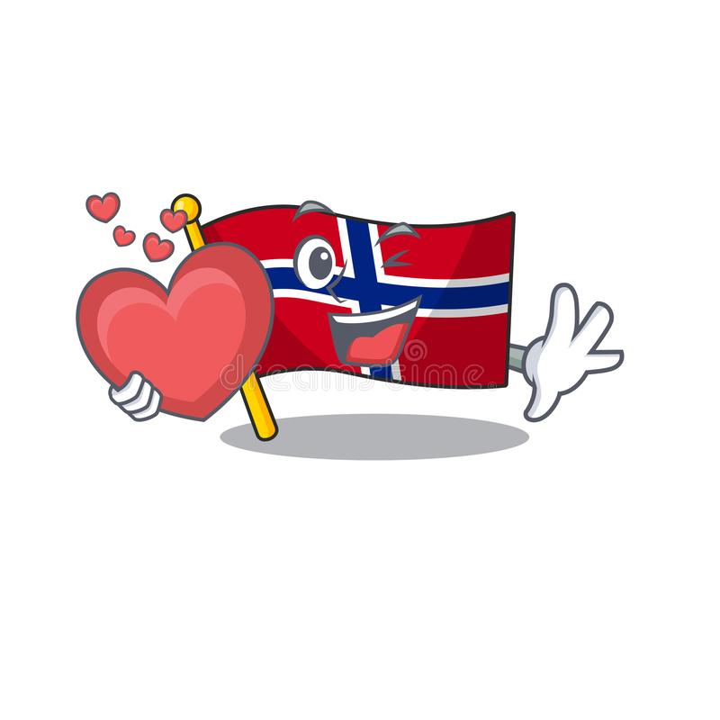 With heart norway flag is flown on character pole vector illustration