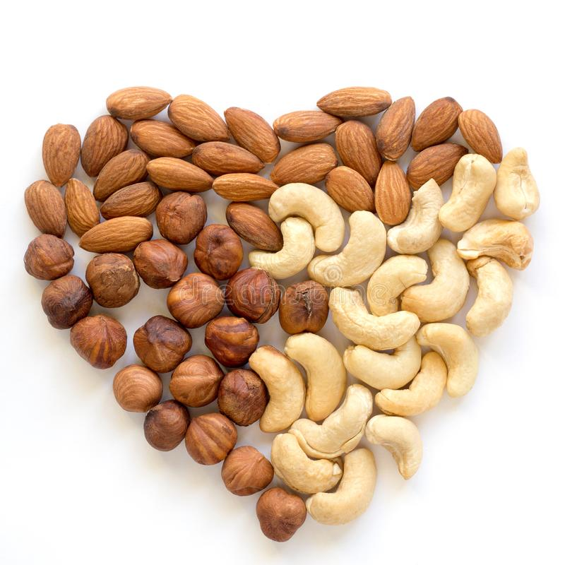 Heart nut. Cashew, almond, hazelnut. Healthy vegetarian food royalty free stock photography
