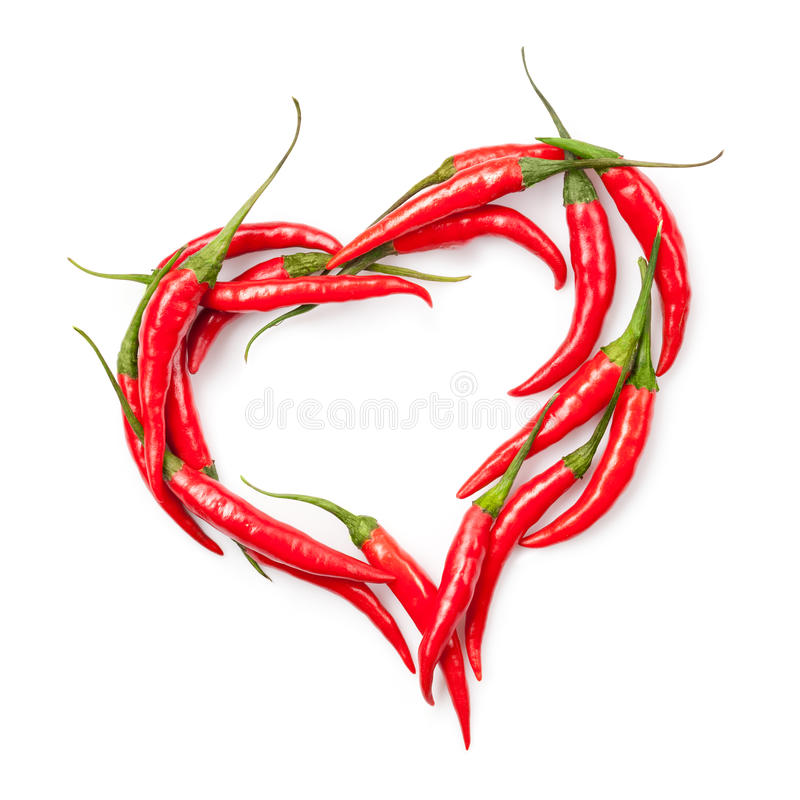 Free Heart Of Chili Pepper Isolated On White Stock Images - 20528774