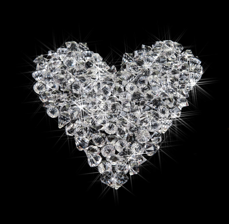 Free Heart Of Diamonds On Black Stock Photography - 12912042