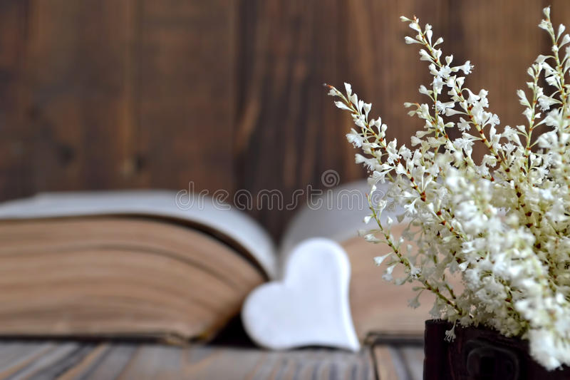 Heart, old book and flowers stock image