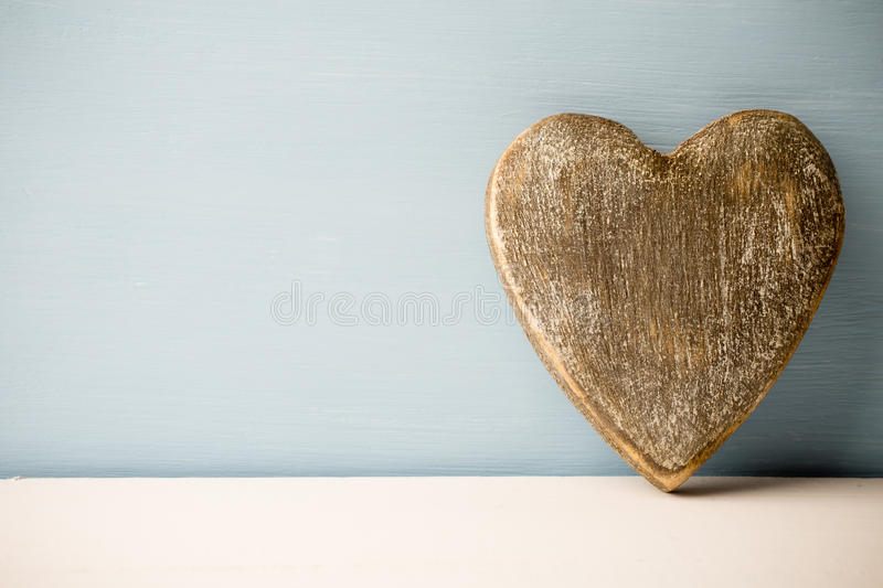 Heart. Old rustic heart on the wooden background. Provencal style stock image