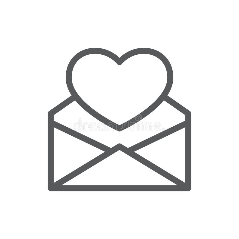 Heart in open envelope line icon with editable stroke. vector illustration