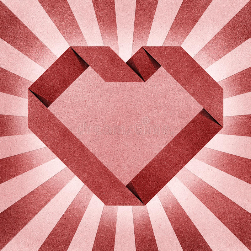 Heart Origami Recycled Paper Craft Stock Photo