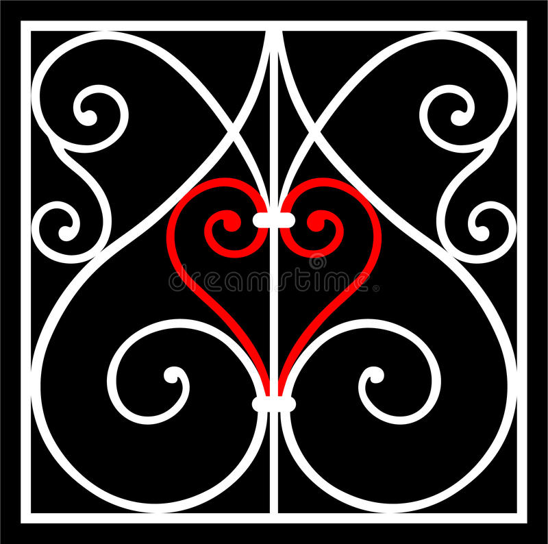Heart ornament. White ornament elements with red heart over black background vector illustration
