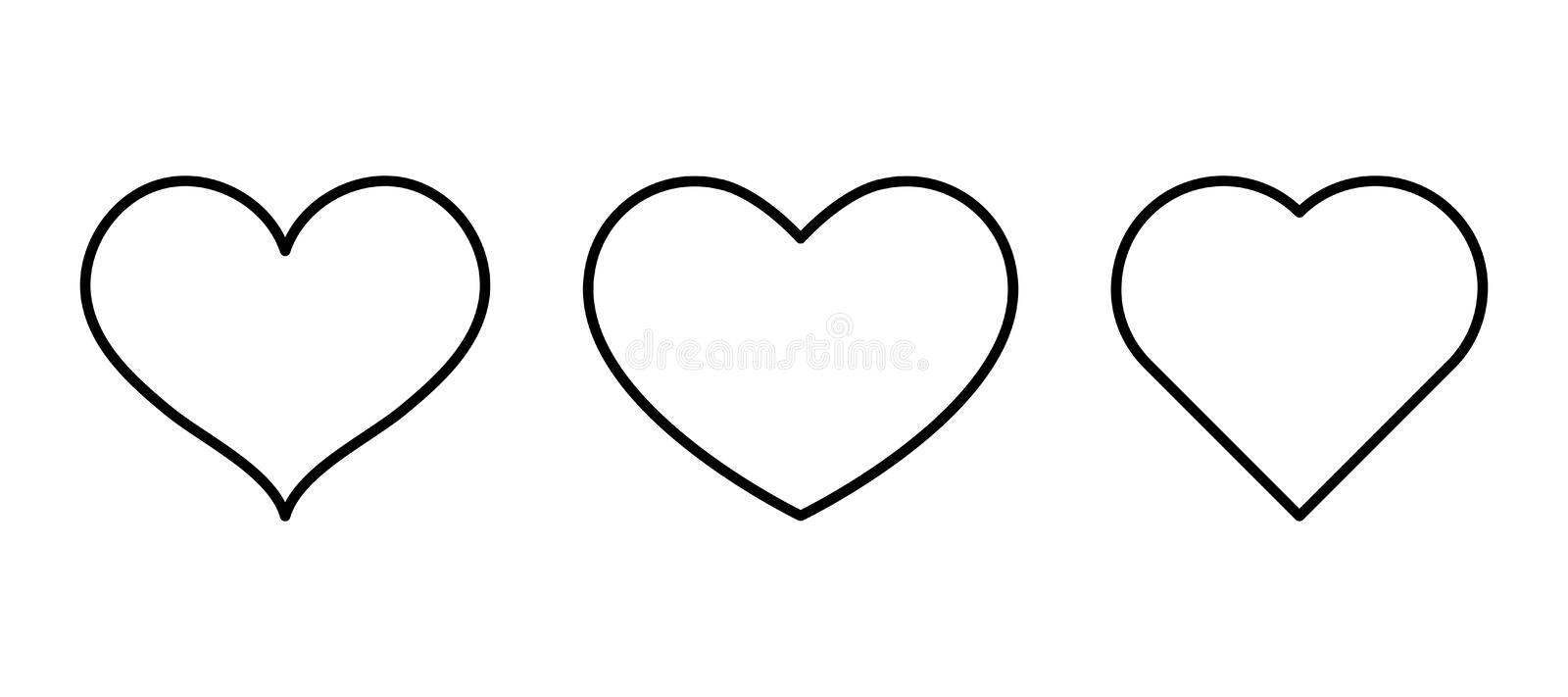 Heart outline black icon on a white background. Symbol of love. Icon for your site or advertising. Vector illustration royalty free illustration