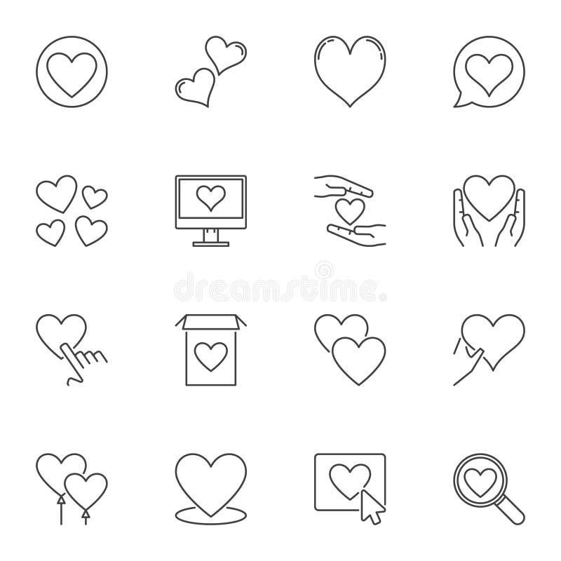 Heart outline icons set. Vector Love linear symbols vector illustration