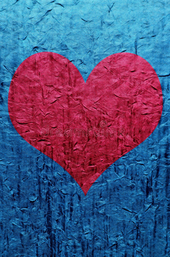 Download Heart over blue stock image. Image of heart, crease, fabric - 31871001