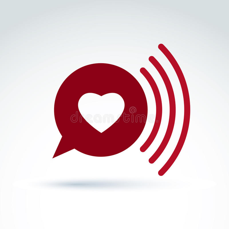 Heart over the speech bubble icon, vector conceptual stylish symbol for your design. vector illustration