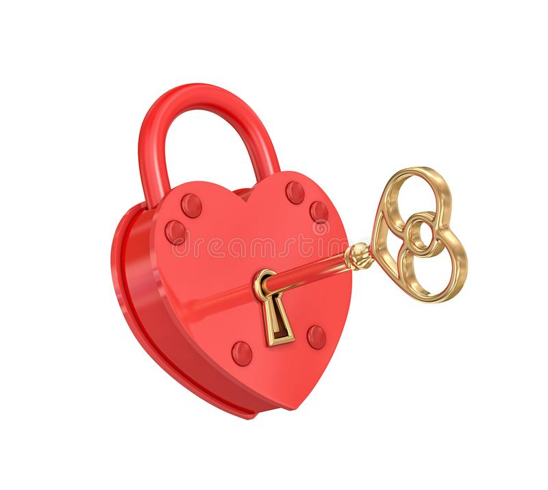 Heart padlock with golden key, clipping path included. Heart padlock with golden key isolated on white. 3D rendering with clipping path vector illustration