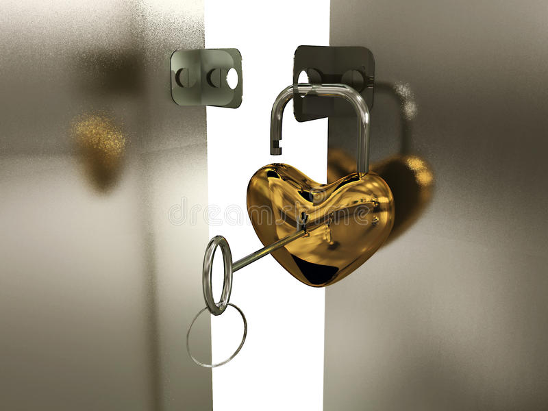 Heart-padlock with key on the gate vector illustration