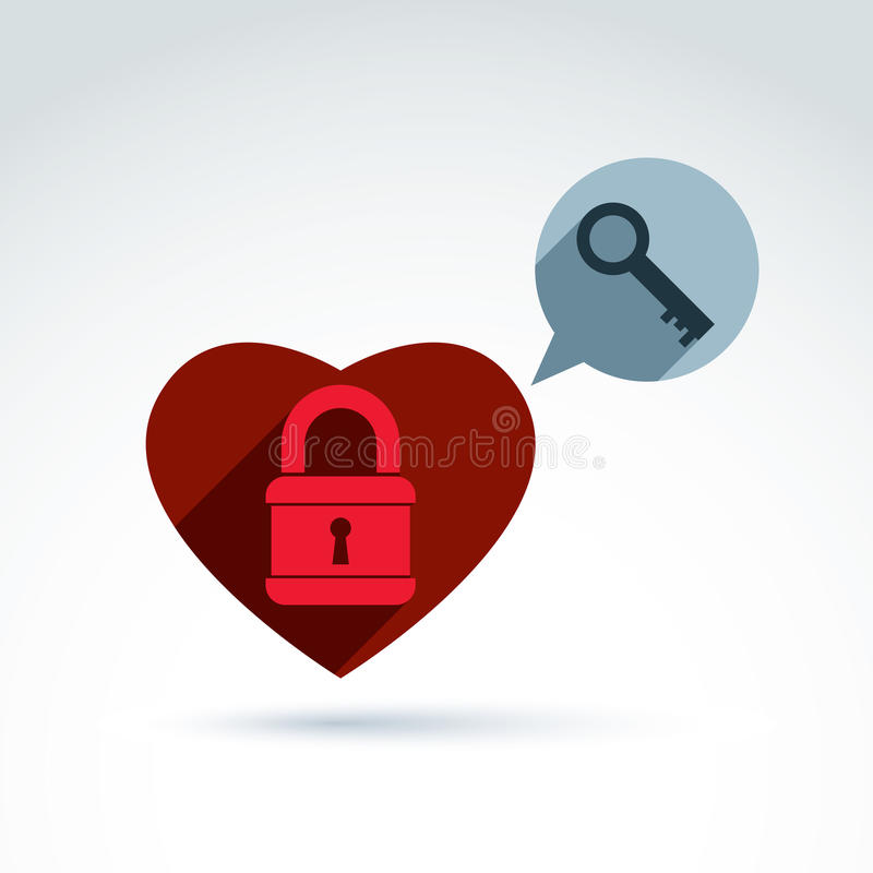 Heart Padlock lock and Key conceptual icon, unlock my heart, unlock your feelings, free your heart, safe from feelings, vector con royalty free illustration