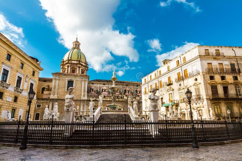 Fontana Pretoria in Palermo, Sicily, Italy. In the heart of Palermo's loveliest square, Piazza Pretoria, stands this magnificent fountain, Fontana Pretoria, work stock photography
