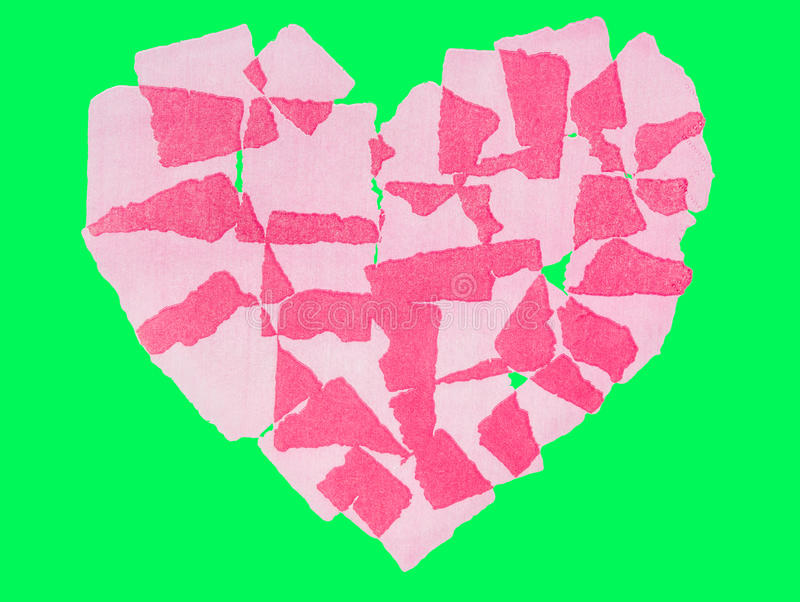 Heart paper abstact Isolated on green screen chroma key. Heart paper abstact Isolated on green screen chroma key background stock photography