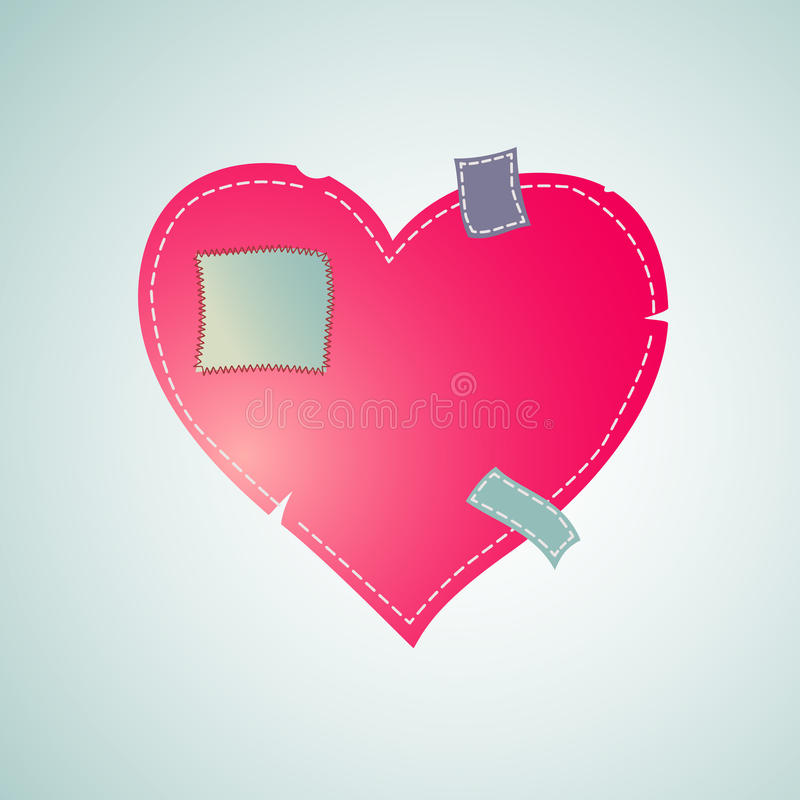 Download Heart Patched With Sewn Thread Stock Vector - Image: 36584941