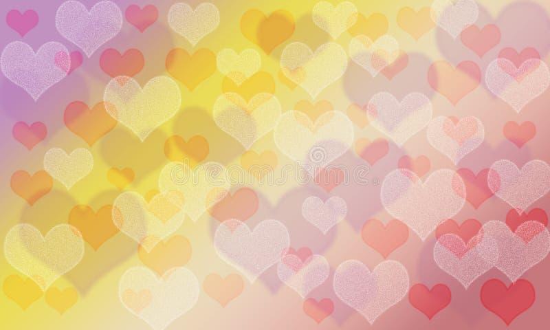Heart pattern bokeh colorful background; joyful pallete color. Valentine day vector illustration