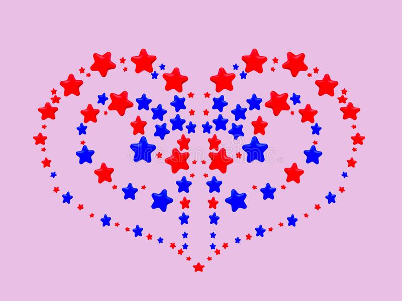 A heart pattern created from red and blue stars. On pink background royalty free illustration