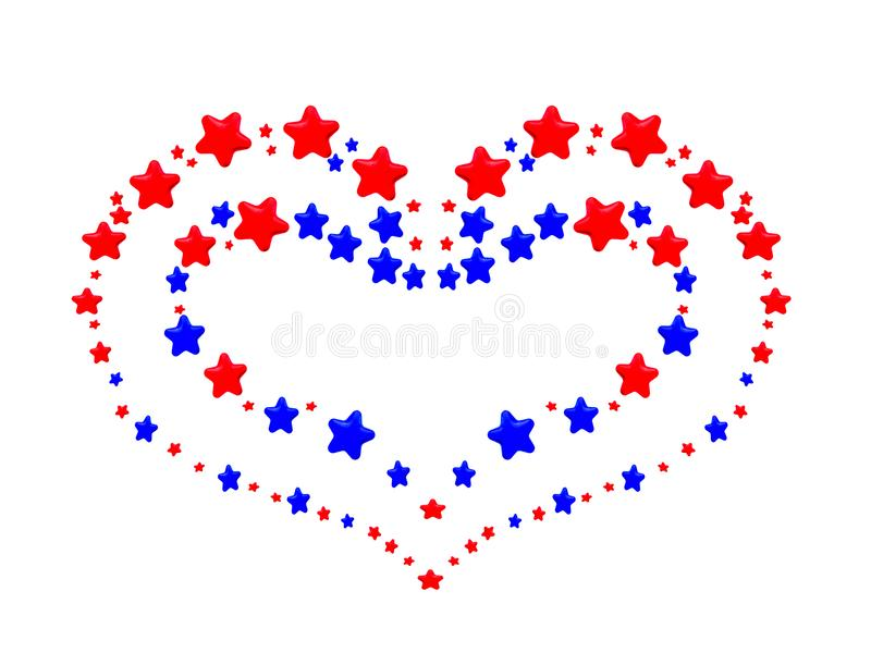 A heart pattern created from red and blue stars. On white background vector illustration