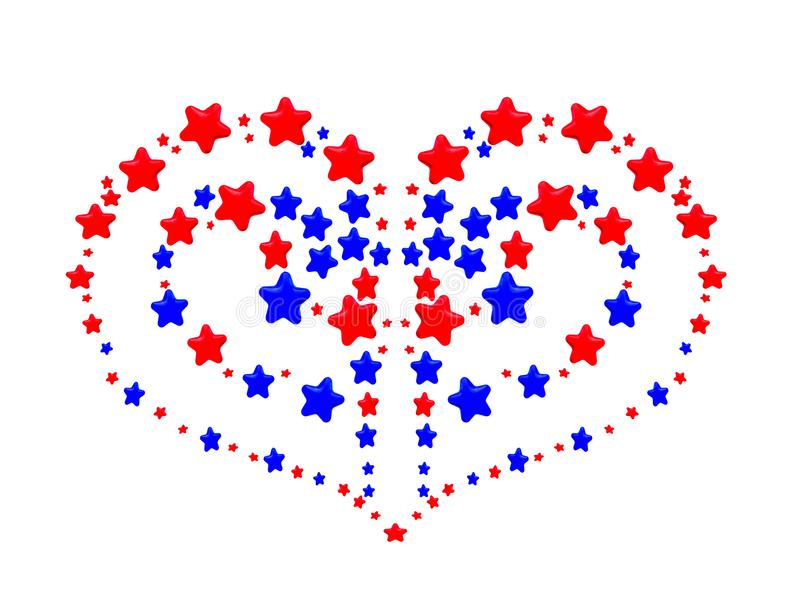 Heart pattern created from red and blue stars. A heart pattern created from red and blue stars on white background stock illustration