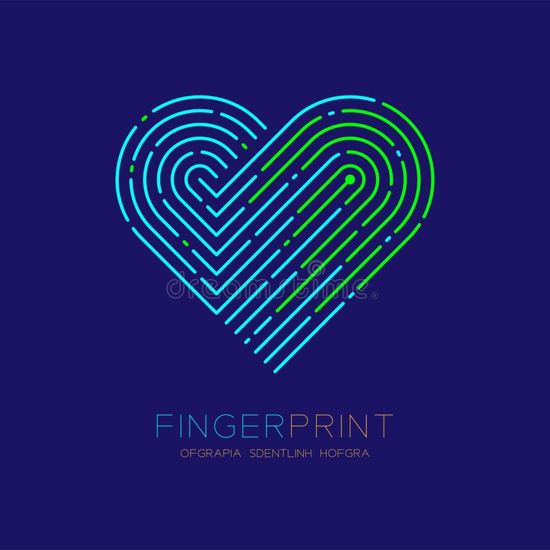 Heart pattern Fingerprint scan logo icon dash line, Love valentine concept, Editable stroke illustration green and blue isolated. On dark blue background with vector illustration