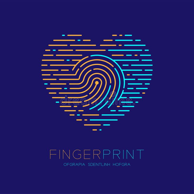 Heart pattern Fingerprint scan logo icon dash line, Love valentine concept, Editable stroke illustration orange and blue isolated. On dark blue background with vector illustration