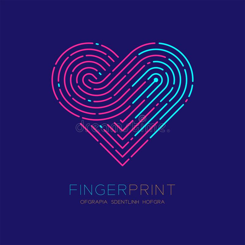 Heart pattern Fingerprint scan logo icon dash line, Love valentine concept, Editable stroke illustration pink and blue isolated on. Dark blue background with stock illustration