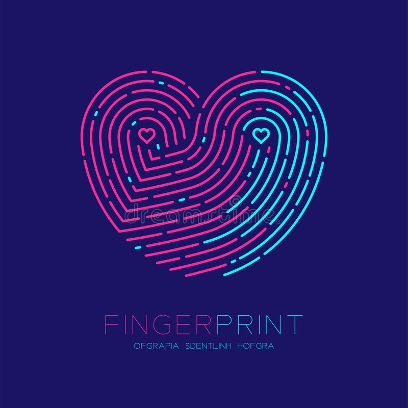 Heart pattern Fingerprint scan logo icon dash line, Love valentine concept, Editable stroke illustration pink and blue isolated on. Dark blue background with royalty free illustration