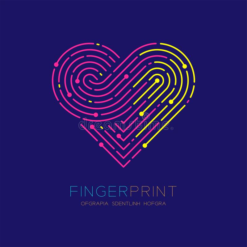 Heart pattern Fingerprint scan logo icon dash line, Love valentine concept, Editable stroke illustration pink and yellow isolated. On dark blue background with royalty free illustration