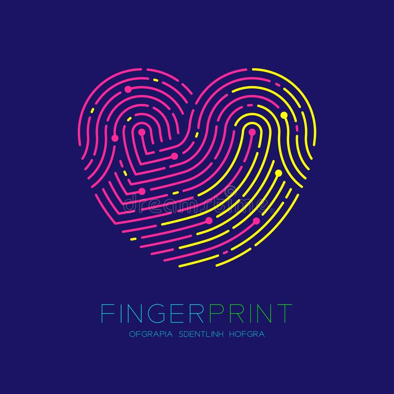 Heart pattern Fingerprint scan logo icon dash line, Love valentine concept, Editable stroke illustration pink and yellow isolated. On dark blue background with stock illustration