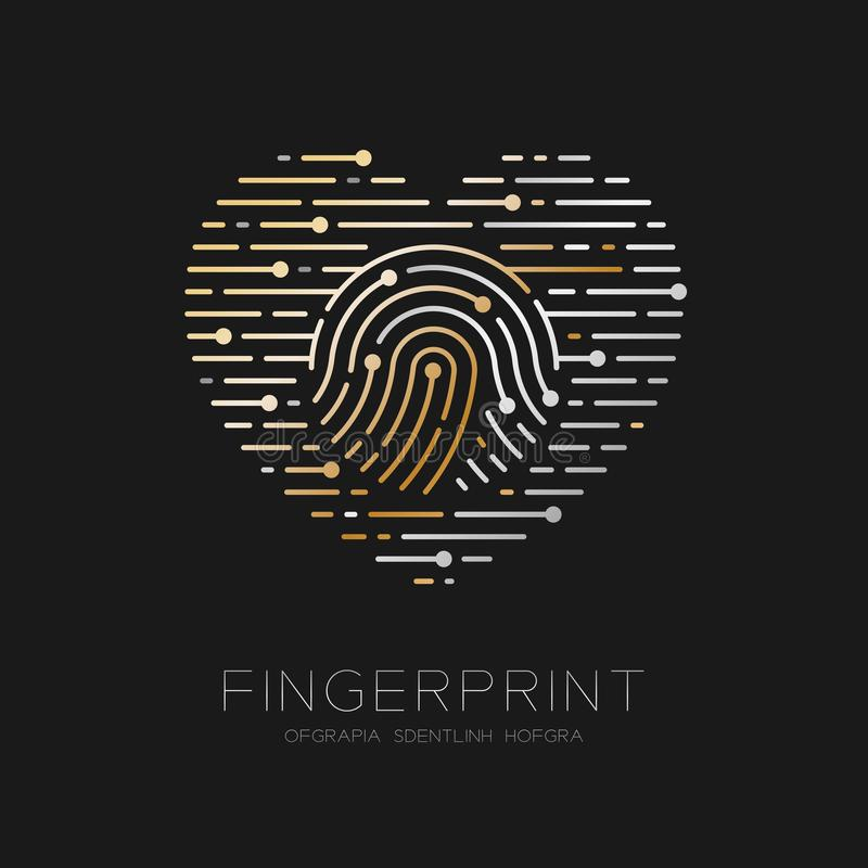 Heart pattern Fingerprint scan logo icon dash line, Love valentine concept, illustration gold and silver isolated on black. Background with Fingerprint text and vector illustration