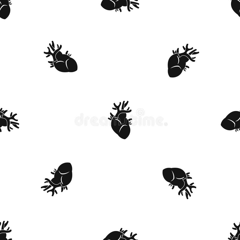 Heart pattern seamless black vector illustration