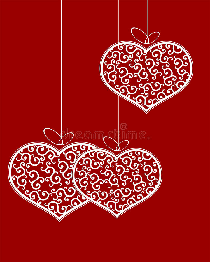 Heart pattern retro with bow. Set of white hearts with bows and patterns retro style vector illustration