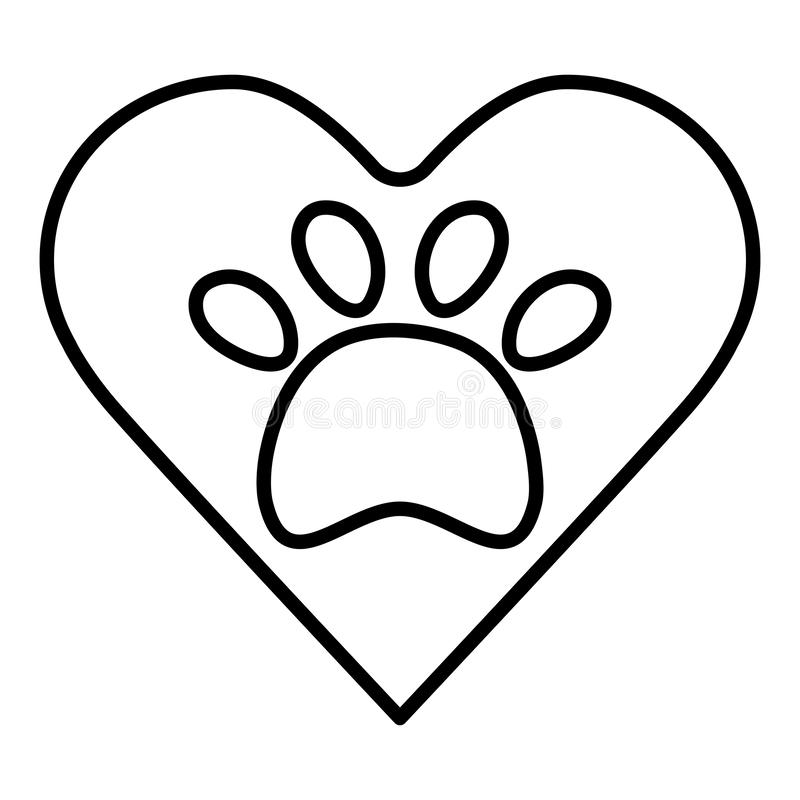 Heart with paw print pet. Vector illustration design stock illustration