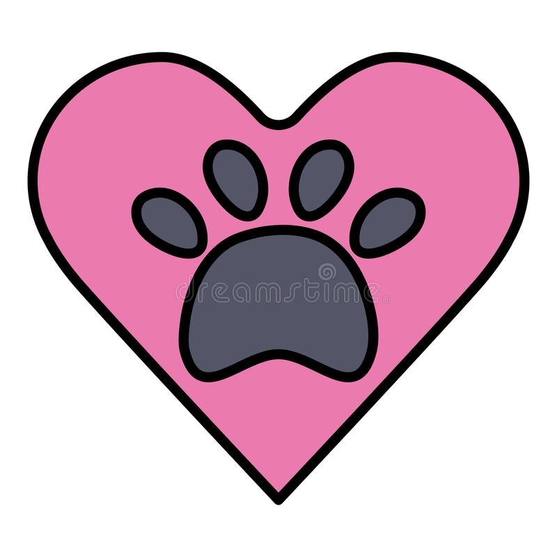 Heart with paw print pet. Vector illustration design vector illustration