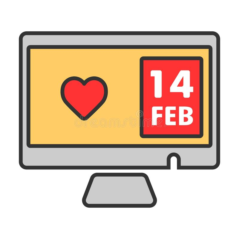 Heart on pc screen vector icon. 14 February or Valentine day. Color illustration on white background stock illustration