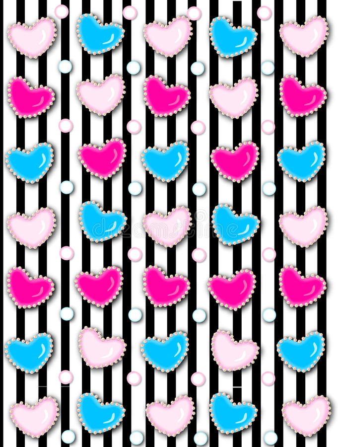 Heart and Pearls on Black Stripe vector illustration