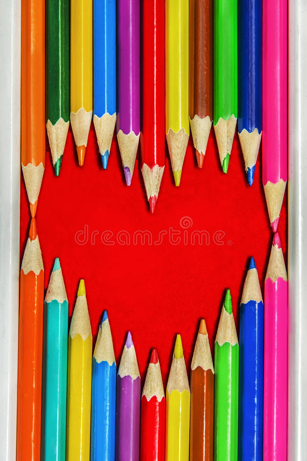 Download Heart Pencils Shape stock photo. Image of charcoal, draw - 37036818