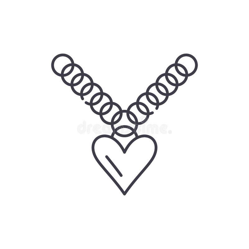 Heart pendant line icon concept. Heart pendant vector linear illustration, symbol, sign vector illustration