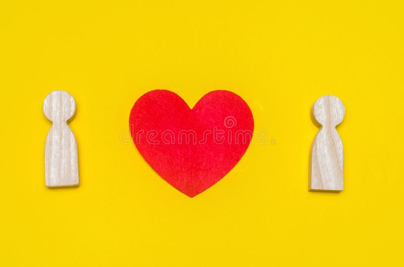 Heart between people, the concept of love, a young couple in love, a search for the second half, a romantic story, feelings, relat. Ionships stock photography
