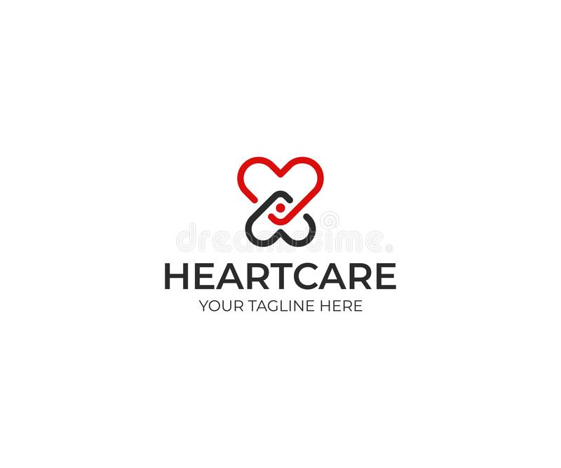 Heart and people logo template. Love symbol vector design stock illustration