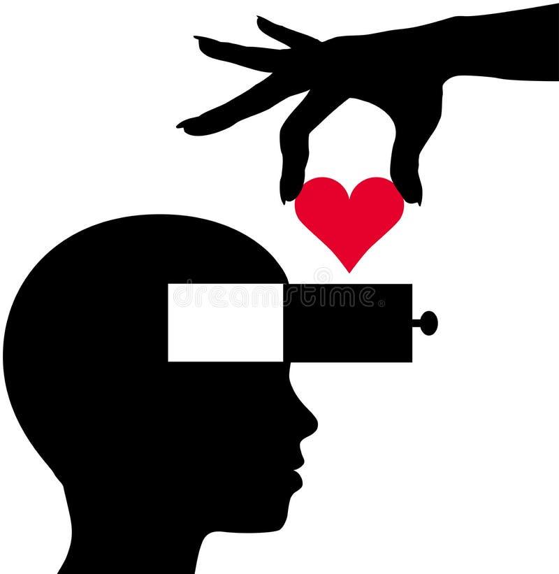 Heart Into Person Head Thinking Love Romance Royalty Free Stock Photography