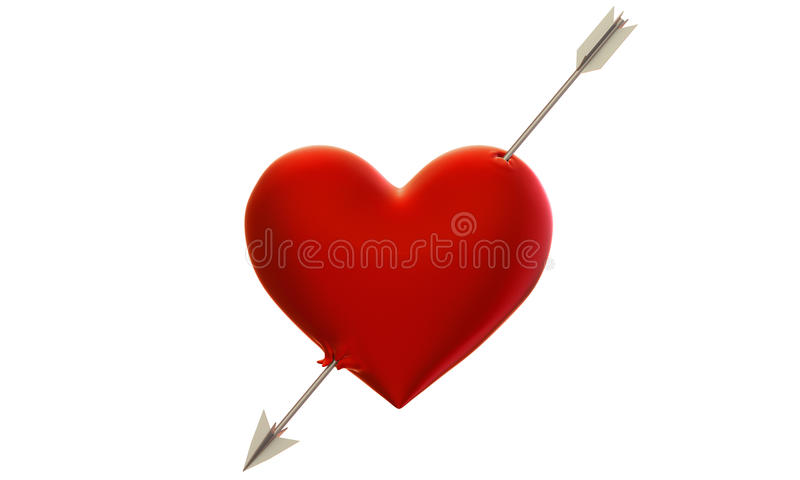 Heart pierced by an arrow. 3d model of the heart, shot through with an arrow of Cupid royalty free illustration