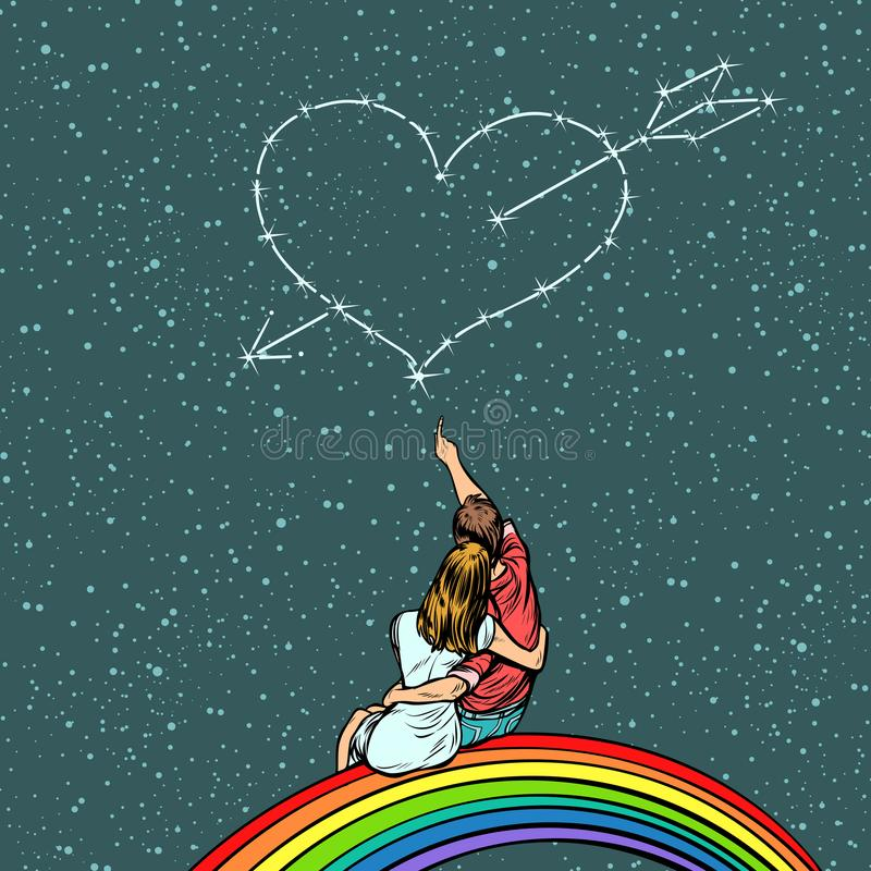 Heart pierced by an arrow over a couple in love royalty free illustration