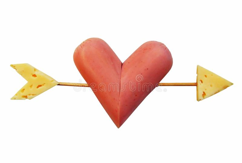 Heart pierced by arrow stock photography