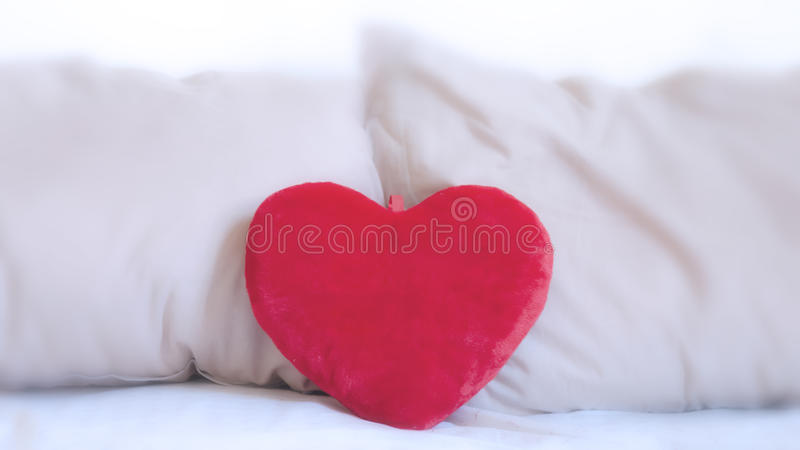 Download Heart pillow on the bed stock photo. Image of february - 29024948