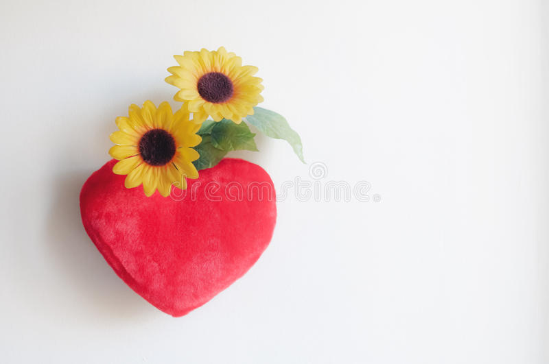 Download Heart pillow and daisies stock image. Image of creative - 29027547