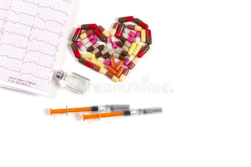 Heart of pills stock image