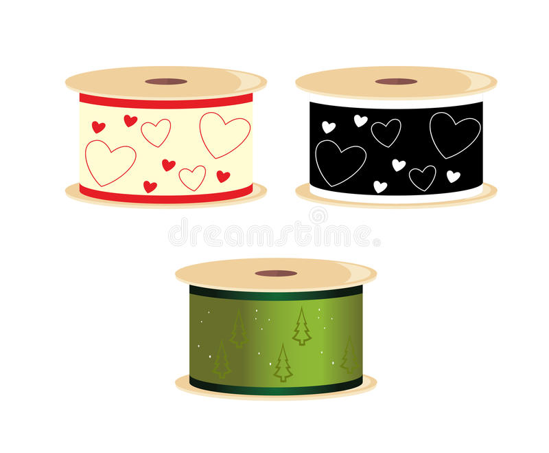 Heart and pine tree ribbon spools royalty free illustration